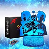 3D-Illusionslampe Naruto Anime Toys Nachtlicht Playstation Lampe 16 Farben dimmbar USB Powered Touch Control mit Crack Base Fernbedienung für Jungen Mädchen Kinder Geschenke