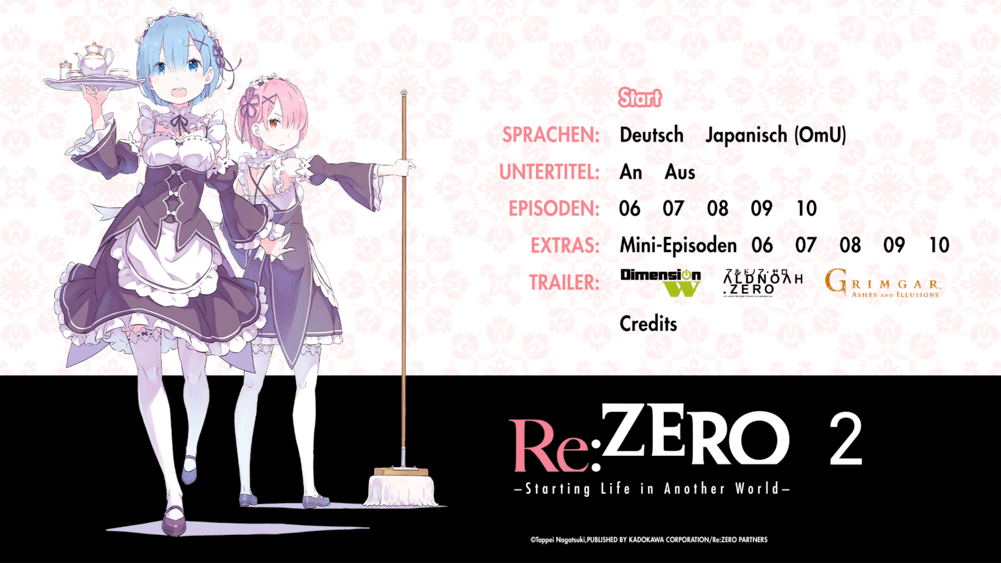 Re Zero Starting Life In Another World Vol. 2 Menu